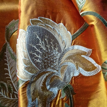 Silk Embroidered - Magnolia Saffron Bronze - 100% Silk Shantung, 54in, Repeat 30V x 25H, Dry Clean Only, Do not expose to sunlight.
