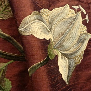 Silk Embroidered - Magnolia Rust Bronze - 100% Silk Shantung, 54in, Repeat 30V x 25H, Dry Clean Only, Do not expose to sunlight.