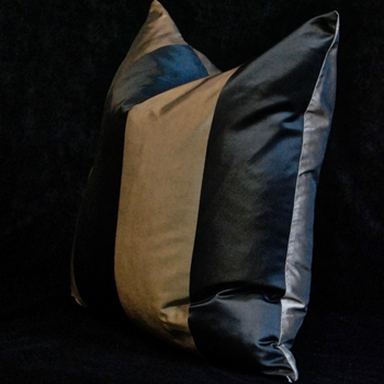 12. Silk Taffeta Stripe Mocha Cushion 18SQ