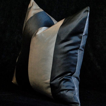 27. Silk Taffeta Stripe Pewter Cushion 18SQ