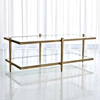 Coffee Table - Laforge Gold & Glass 50W/26D/18H