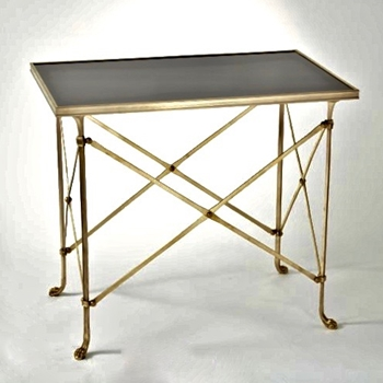 Accent Table - Directoire Black 30W/19D/27H Brass