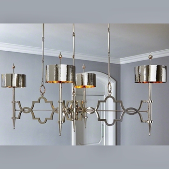 Chandelier - Quatrefoil Nickel 64L/34W/28H