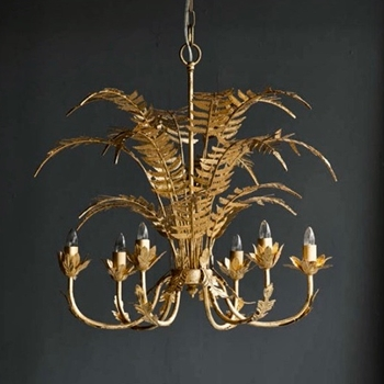 Chandelier - Fern Leaf Gold 24W/24H