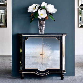 Chest - Radiant Deco Mirror/Black/Gold 35W/20D/33H