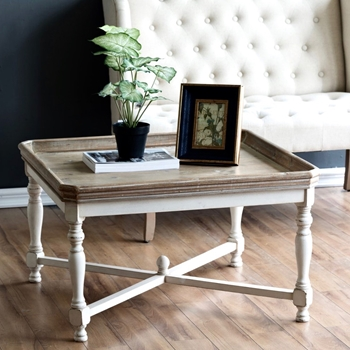 Coffee Table - Tray Pine & White Wash 33SQ/19H