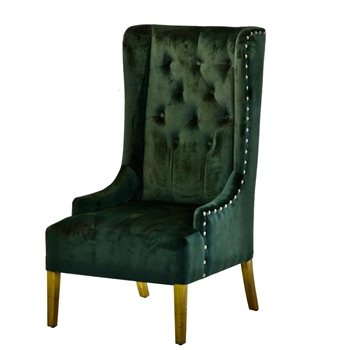 Armchair Wing - Tufted Emerald Velvet 24W/28D/46H