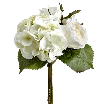 01. Bouquet - Hydrangea Roses White Green 11in