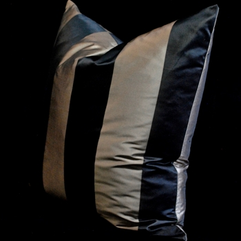 12. Silk Taffeta Stripe Mocha Black Euro Cushion 26SQ