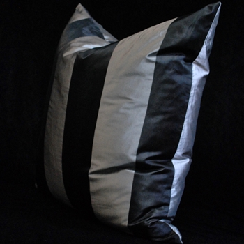 27. Pewter Silk Taffeta Stripe Euro Cushion 26SQ
