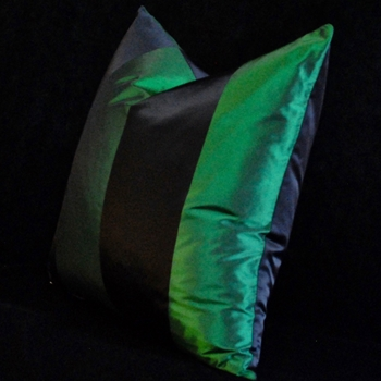 51. Emerald Silk Taffeta Stripe Cushion 18SQ