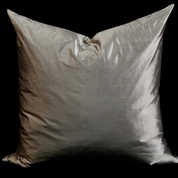 27. Pewter Shantung Silk Euro Cushion 26SQ