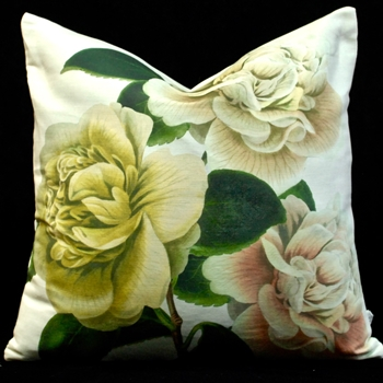 67. Camellia Folly Parchment Cushion 20SQ