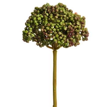Berry - Sedum Succulent Head Green/Mauve 9in - FSS048-GR/MV