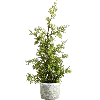 Juniper Tree Tabletop White Pot 18in Green