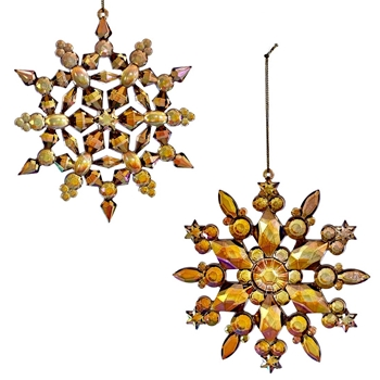 01. Ornament - Snowflake Prism Golden 5in