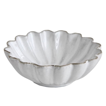 Fluted Antique White Mini Bowl 4in