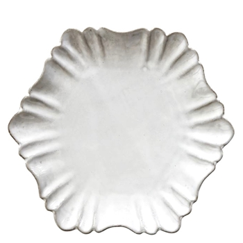 Fluted Antique White Plate 7In