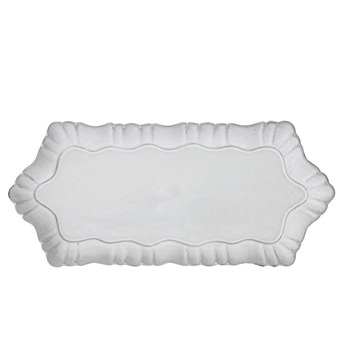 Fluted Antique White Platter 15x6.5