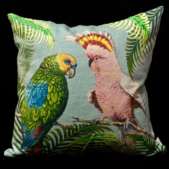 47. Parrot & Palm Azure Cushion 20SQ