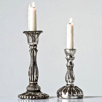 Candlestick Mercury  Glass Silver 4x7 or 5x9