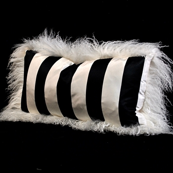 16. Tibet Ivory Black & White Taffeta Stripe Silk Cushion 24X12