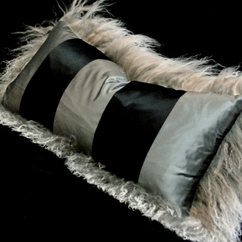 28. Tibet Pebble Taffeta Stripe Pewter Cushion 24x12