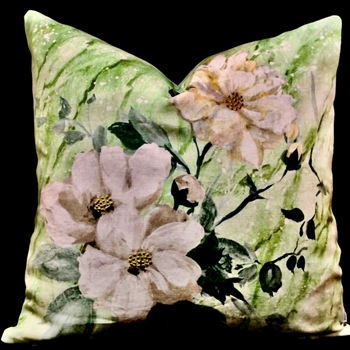 43. Carrara Fiore Cushion Verde 20in SQ