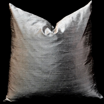 27. Dupioni Silk Cushion Pewter Shadow 18SQ