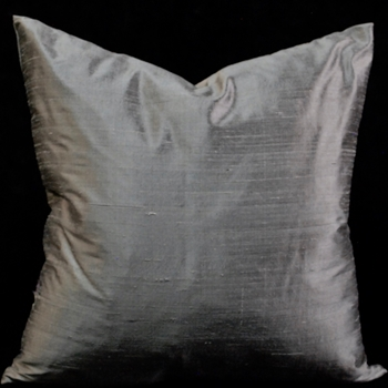 27. Dupioni Silk Cushion Pewter Metal 18SQ
