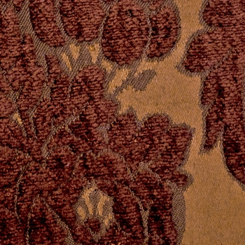 Chenille Jacquard - Perricone Saddle Rust Damask - 54In, 73% Rayon, 27% Polyester, 27V Repeat, Pre-laundered at mill.  Easy care machine washable.