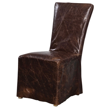 Dining Sidechair Oaklyn Chestnut Leather Slip