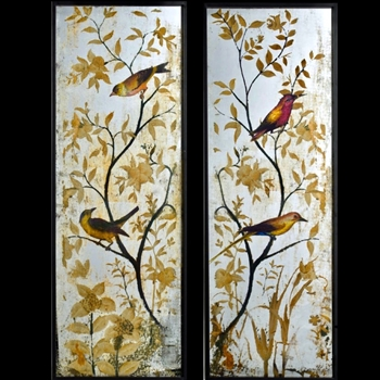 17W/47H Mirror - Chinoise Bird Panel