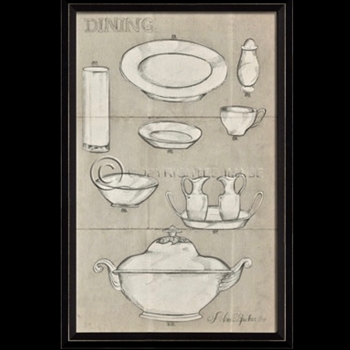 17W/26H Framed Print - Dining Dishes