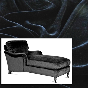 Chaise Julia Black Velvet 68W/33D/35H