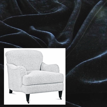 Armchair London Black Velvet 33W/40D/34H