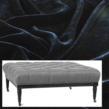 Ottoman Lawrence 44W/44D/18H Black Velvet, Antique Black Leg, Pewter Castors