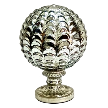 Finial - Artichoke Globe 9x12 Mercury Glass