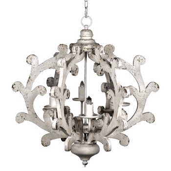 Chandelier - Fiddle Globe White Wash 25W/26H