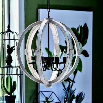 Chandelier - Calder Sphere White Wash 22in