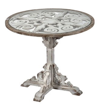 Dining Table - Filigree White Wash 36W/30H