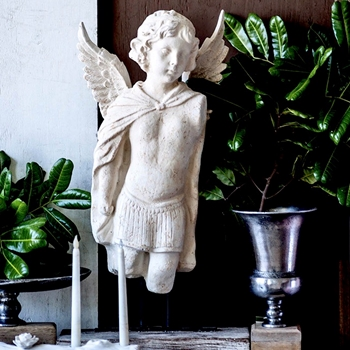 Figure - Winged Boy 16X28H White Washed