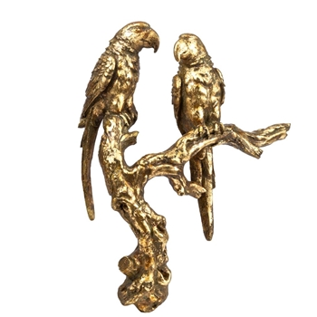 Bird - Gold Parrots 10x4x13H - Wall Mount
