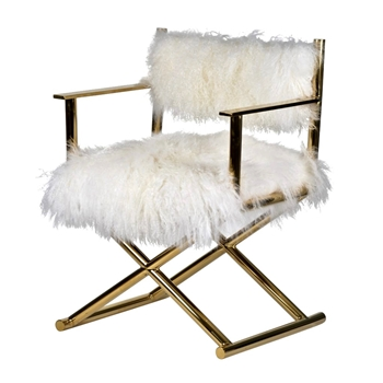 Armchair - Director Gold & Mongolian Fur 24W/22D/32H