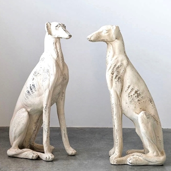 Dog Greyhound - Antique White Left or Right 17W/30H