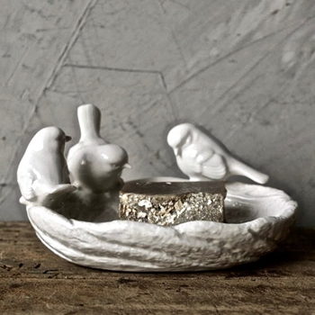 Bowl - Birdnest 3 Birds White Ceramic 6in