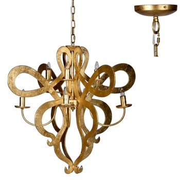 Chandelier - Scroll Gold 8L 32W/28H