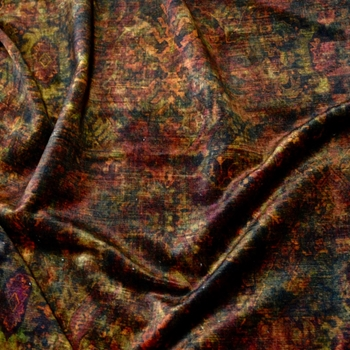 Velvet Printed - Totally Floored Pompeii Rust - 54in, 19% Polyester, 54% Viscose, 27% Cotton 54in, 51K DR, Repeat 27H x 25V