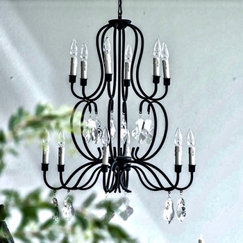 Chandelier - Scroll Chrystal & Black Iron 25x29H