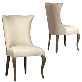 Dining Chair - Cabriole Wing 24W/25D/42H Linen